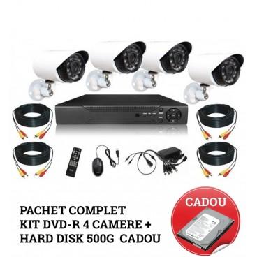 Pachet complet Kit supraveghere DVR CCTV 4 camere + Hard Disk 500 G