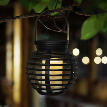 Lampa solara LED, tip felinar, imitatie lumanare, 10 x 11 cm
