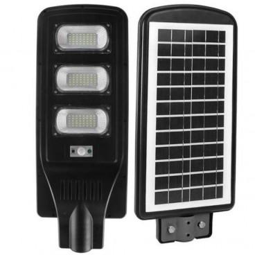 Proiector stradal LED SMD 90W cu senzor, panou solar si telecomanda, suport de perete Cadou