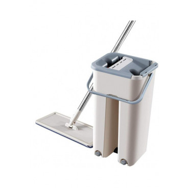 Mop plat, galeata cu 2 cuve pentru spalare si stoarcere rapida, 2 rezerve incluse, rotire 360 grade