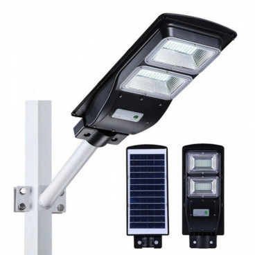 Proiector stradal LED SMD 60W cu senzor, panou solar si telecomanda, suport de perete Cadou