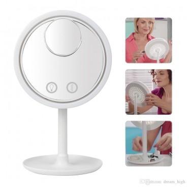 Oglinda make-up cu led, ventilator si functie touch